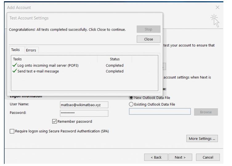 Hướng dẫn cấu hình gửi/nhận mail trên Outlook 2010